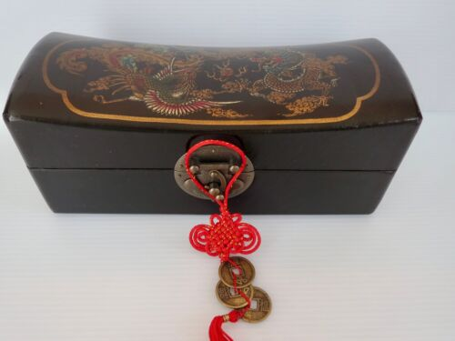 Beautiful CHINESE PILLOW BOX Wood with Dragon Motif 9.25 inches long 4 inch wide