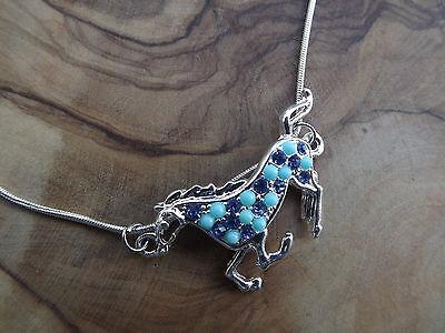 Horse necklace - Turquoise blue Silver tone - Rhinestone glass - Appaloosa