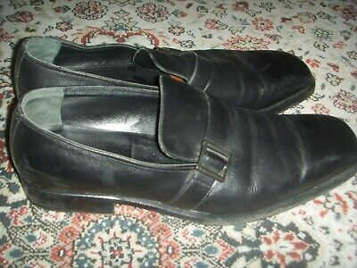 Vintage GUCCI ITALY 101749 For Valentino Black Leather Loafers Mens Size 13D
