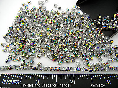 600 Preciosa Czech Fire Polished Round Faceted Beads 3mm Crystal Vitrail, loose