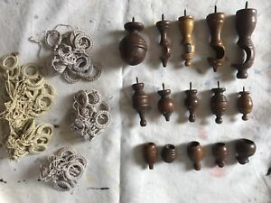 Antique wood finials and curtain pulls