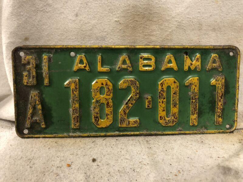 Vintage 1931 Alabama License Plate