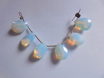 6 Pcs Chinese Opalite Faceted Pear Gem Cut Beads Side Drilled 14x10MM Cut Faceted Pear