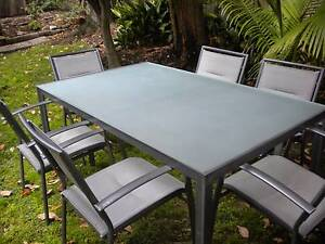 6 seat frosted glass outdoor dining table and chairs Randwick Eastern Suburbs Preview