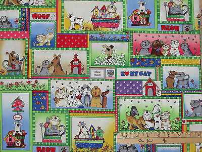 Love is a 4 Legged Word Blocks Woof Meow Dog Cat Fabric by the 1/2 Yd  112-31351