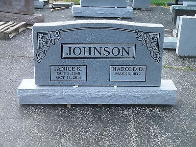 """CEMETERY HEADSTONE- gray- multiple engraving options 48 x 6 x 24"""""""