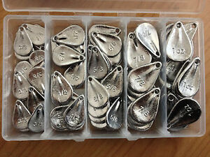 FISHING SINKERS  NO SNAG  IN A TACKLE BOX, 75 SINKERS 1.4KG APPROX.