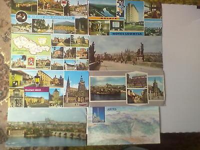 Acht Ansichtskarten CESKOSLOVENSKO Langformat mit und ohne Briefmarken