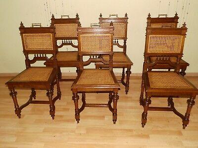 ANTIK! 1 - 6 Tolle Gründerzeit Stühle massiv Eiche um 1890 neues Geflecht TOP