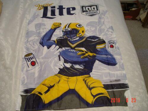 "SHIPS FREE! Green Bay Packers Miller Lite ""100 SEASONS"" Lambeau Leap Banner NEW!"