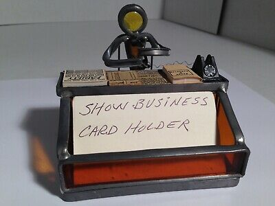 Rare Vintage Stained Glass Show Business Card Holder Circa 1980s