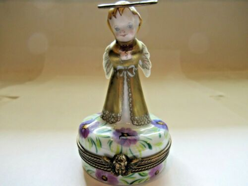 Peint Main Limoges Trinket-Golden Angel