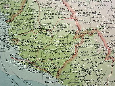 1921 LARGE MAP ~ WEST AFRICA ~ GUINEA SIERRA LEONE SUDAN IVORY COAST NIGERIA