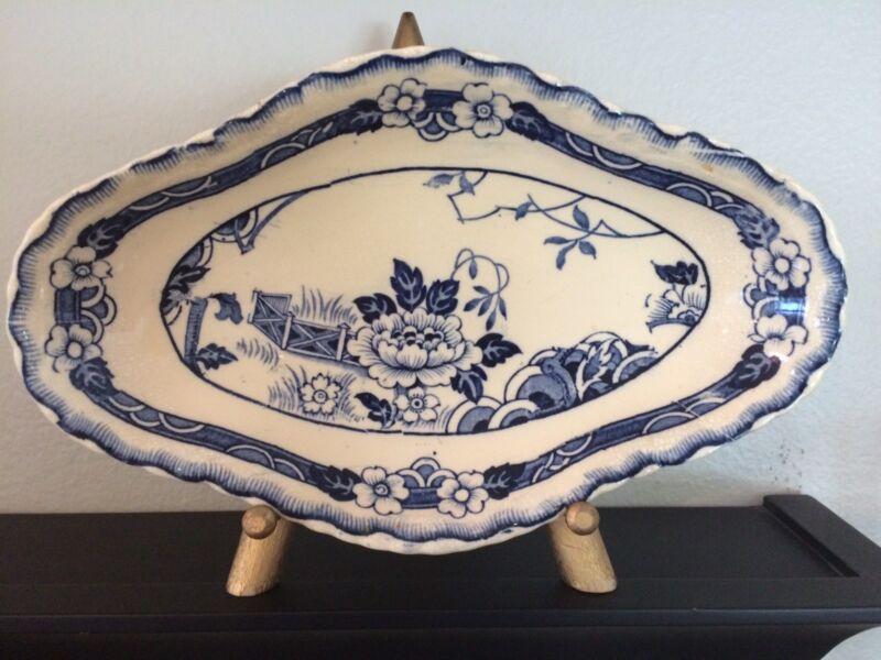 ALFRED MEAKIN ENGLAND BLUE/WHITE JESMONDE PATTERN SMALL PLATTER
