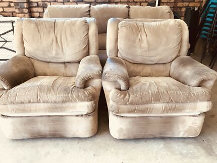 Lounge suite - three seater + two single  recliners