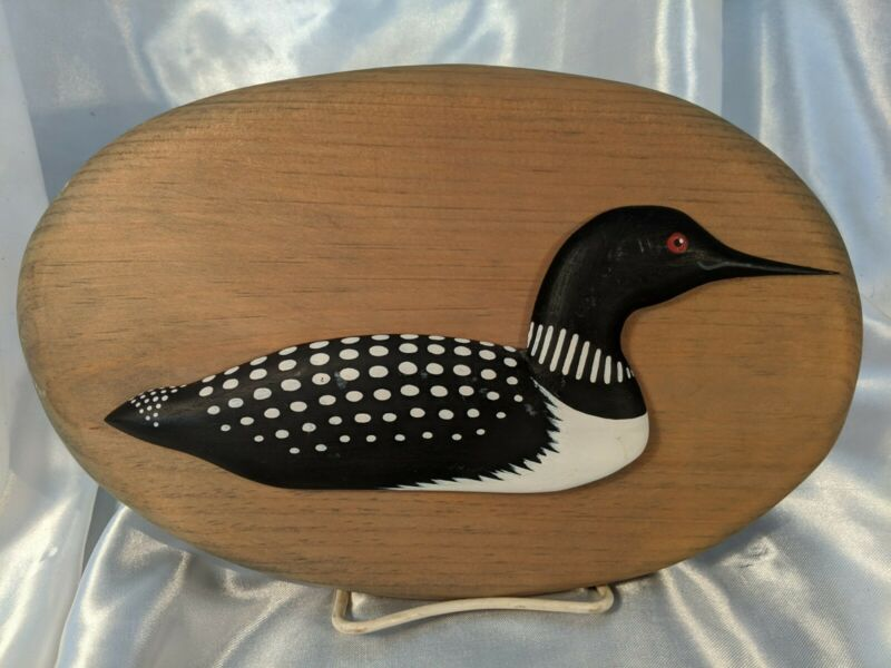 Carved Loon Wall Plaque Hand Carved Wood Signed ME Black White Folk Art Bird