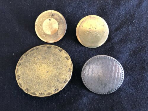 """lot of 4 GORGEOUS ANTIQUE 18th CENTURY  BUTTONS, 13/16""""-1  5/16"""""""