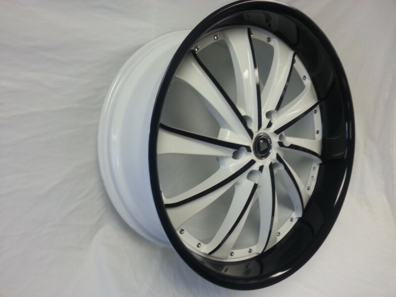 22 X9.5 White Diamond Edition & Black Style 0016 Wheels Rims Fit 5 X 115 Charger