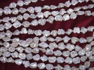 STRAND 11-12 mm white Iridescence keshi freshwater pearls beads 28+ AAA