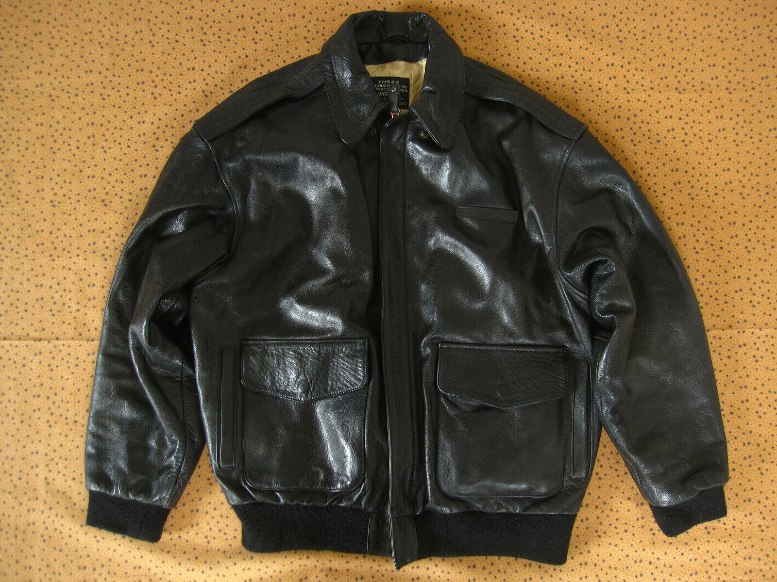 Blouson avirex type a-2 us army de 1992 mother veste vintage noir cuir - xl