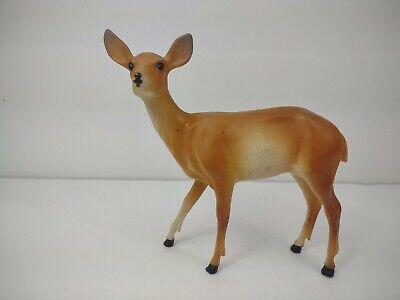 "Vintage Christmas Plastic Doe Deer Blow Mold Figurine Decoration 6"" tall x 6"" w"