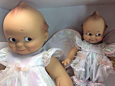 "Effanbee 2001 Kewpie Set Angel Pair w/ Pink Iridescent Dress 8-16"" Vinyl Dolls"