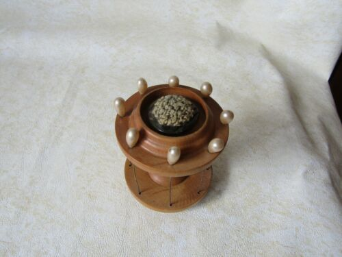 Antique Wood Sewing Caddy Thread spool Holder  Lifting Pins to hold thread