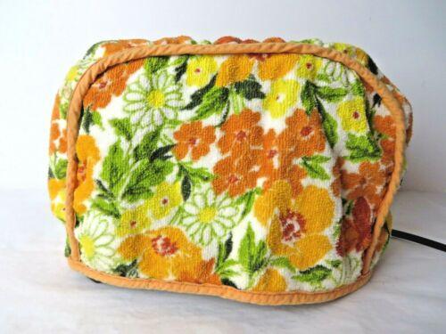 Retro Mid Century Toaster Cover Orange Yellow Green Floral  #10189