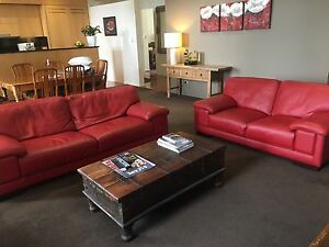 Modern Genuine Red Leather Lounge Suite Newcastle East Newcastle Area Preview