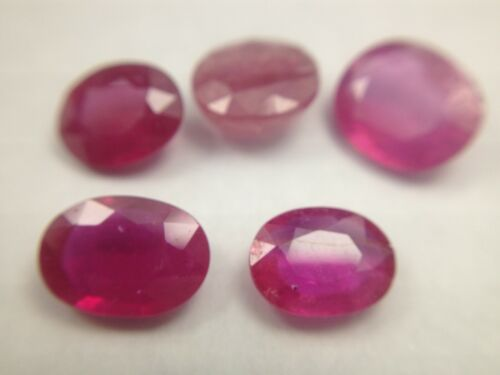 5 Oval faceted Hybrid Rubies, 7 x 9 to 8 x 10mm, 13.6 TCW, #15171B