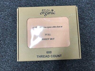 100% Organic Cotton 4pcs  Bed Sheet Set 600 TC Light Salmon Full Size