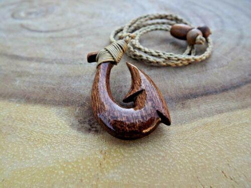 Koa Wood Carved Fish Hook Necklace Hawaiian Wood Hook Adjustable Cord Choker