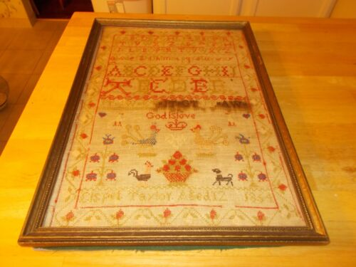 ENGLISH SAMPLER MADE BY ELSPET TAYLOR AGE 12 1864 W STRAWBERRY BORDER BIRDS FLOW