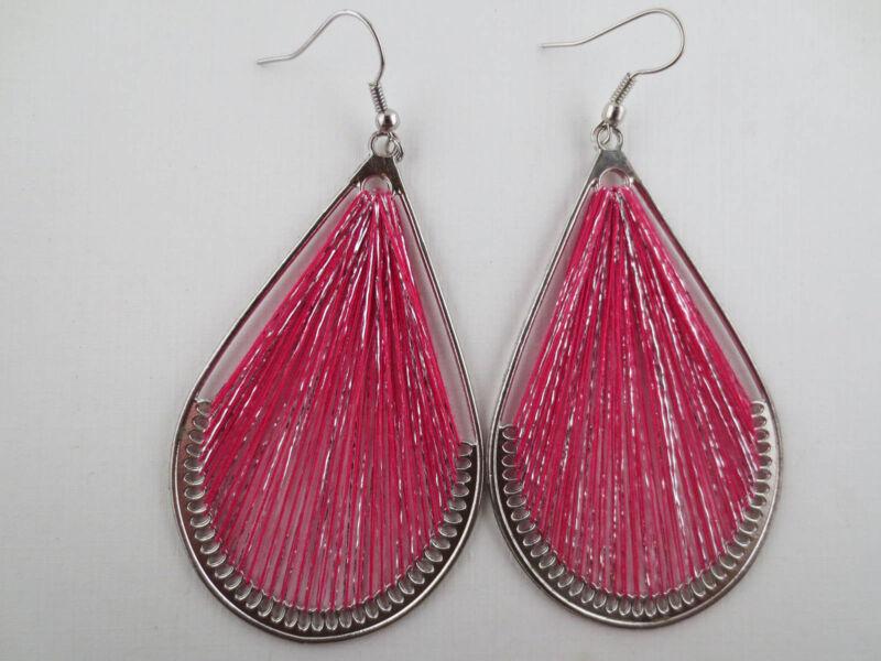 Vintage Style Dangling Silvertone Pink/Metallic Silver Woven Teardrop Earrings