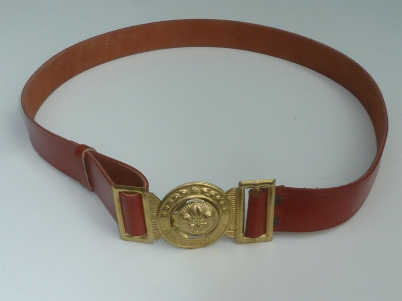 """EXTRA LARGE LEATHER THAILAND BOY SCOUTS BELT UP TO 46"""" WAIST"""