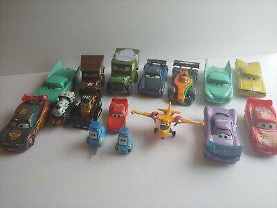 Huge Lot of 16 Disney PIXAR Cars Movie Diecast metal & Plastic Cars Plane