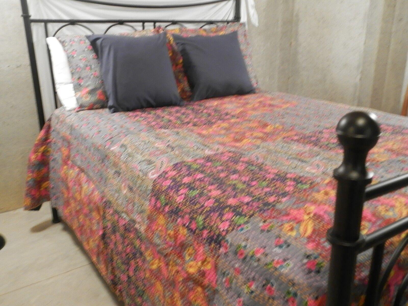 Patchwork kantha Quilt. Cotton  Bedspread Comforter for teen