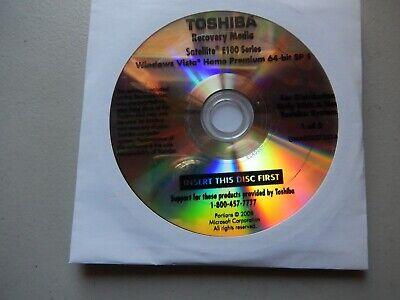 Toshiba E100 E105 Series Windows Vista System Recovery Restore DVD Discs Media