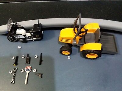Playmobil Police Motorcycle Accessories Tractor