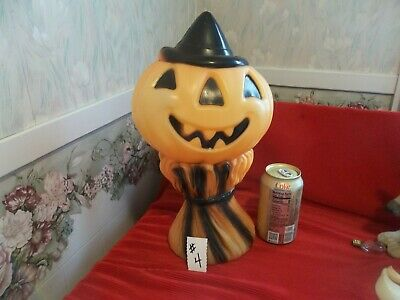 """Vintage 1969 EMPIRE Halloween Blow Mold PUMPKIN on Corn Stalks 14.5"""" #4"""