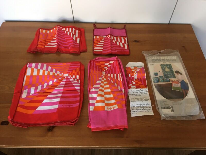 Vintage Pink Red Geometric Kitchen Covers Set Retro 1970s Fabric Toaster Cover
