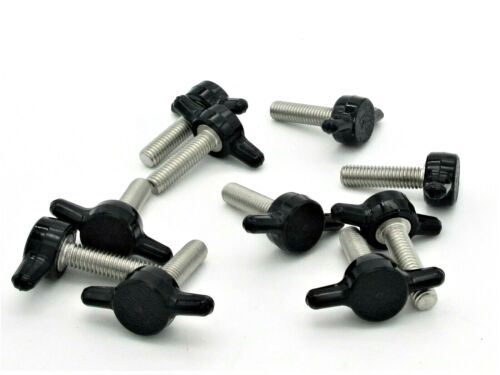 "#10-32 X 3/4"" Thumb Screws Tee Wing  Black Delrin Head  SS  10 per package"