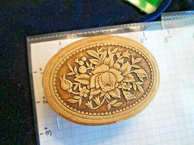 RUSSIAN BIRCH BARK CARVED TRINKET BOX OVAL FLOWERS HAND MADE (Birch Bark Boxes)