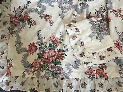 Vintage HORROCKSES White Floral Reversable Frilled Duvet Cover & Pillow SINGLE