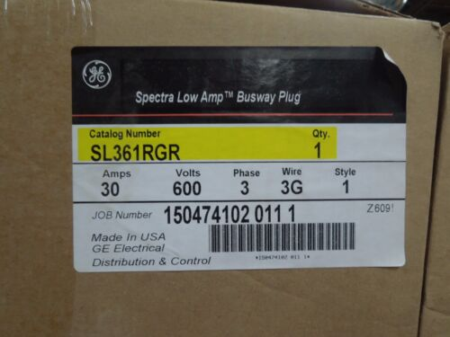 Ge Sl361rgr Spectra Series Low Amp 30a 600v 3w W/ Ground Fusible Busplug New