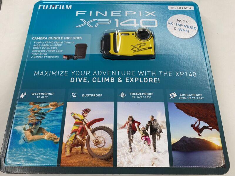FUJIFILM Finepix XP140  Water Proof Camera W/ 64GB SD Card (YELLOW) 4K Wi-Fi NEW