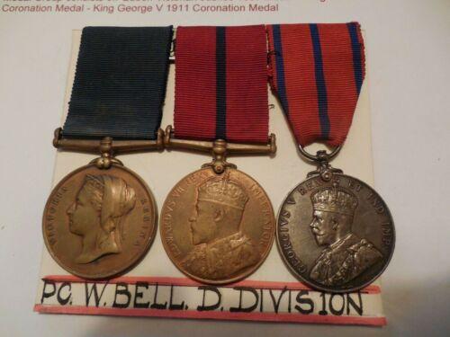Victorian British Metropolitan Police Constables 1897 1902 1911 Mounted 3 Medals