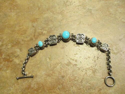 """7"""" FINE QUALITY Vintage 925 Sterling Silver Turquoise Link Bracelet"""