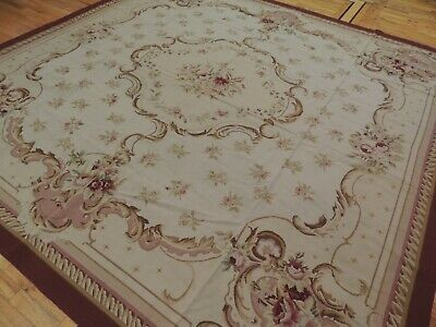10x10 French Aubusson Needlepoint SQUARE Area Rug Floral Red Beige Purple/Pink Aubusson Square Rug