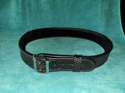 Bianchi 7965 Accumold Black Basketweave Duty Belt Brass Buckle Chrome 38-40